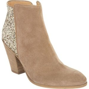 Barney Co Op Tan Suede and Gold Glitter Boots